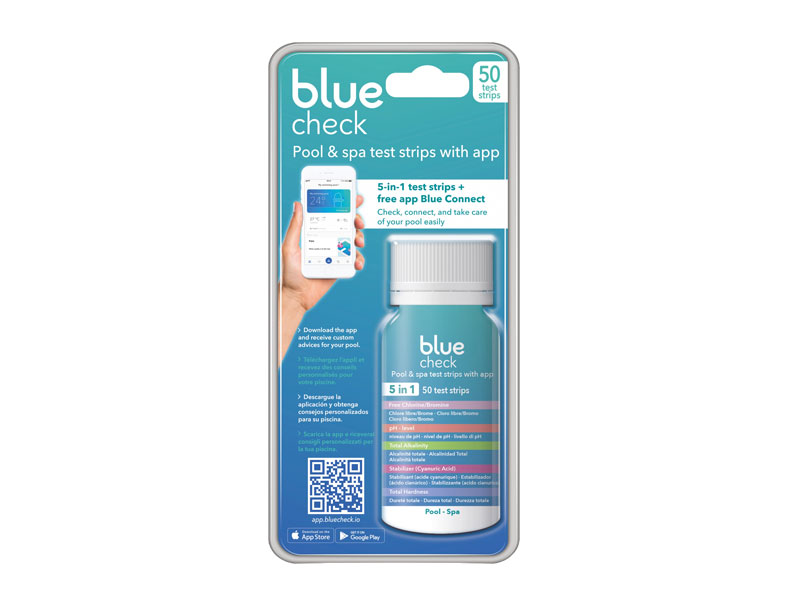 ASTRAL POOL Blue Check, 5-in-1 pool & spa test strips with maintenance app Blue Connect